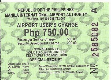 Philippine Airport Tax Rise by Departure Tax Receipt Manila International Airport