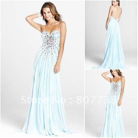 light blue spaghetti strap prom dress beaded spaghetti strap light blue prom dress gorgeous