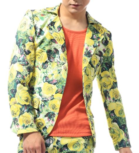 yellow patterned blazer bright artistic yellow floral mens casual blazer