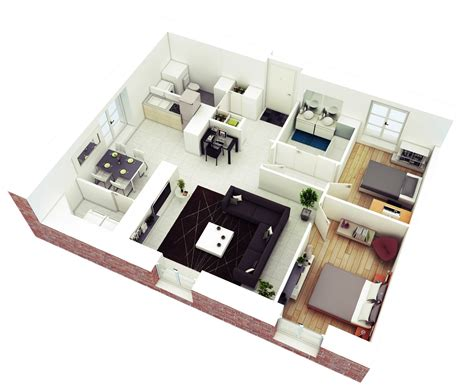floor plan in 3d 25 more 2 bedroom 3d floor plans