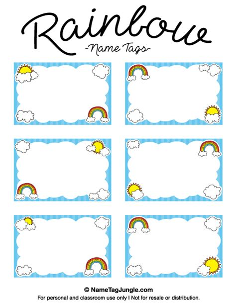 Free Printable Rainbow Name Tags With Cloud And Sun Graphics The Template Can Also Be Used For Sun Label Template