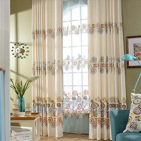 tall curtain panels beige flower geometric patterned tall curtain panels