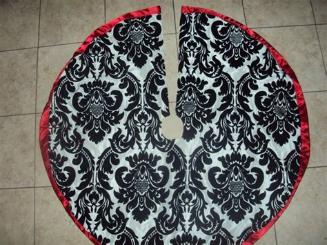 damask tree skirt black white and red silver black