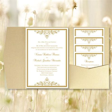 Pocket Fold Wedding Invitations Vintage Gold 5x7 Wedding Template Shop 5x7 Wedding Invitation Template