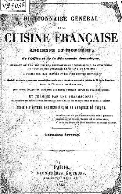 Télécharger Dictionnaire général de la cuisine française
