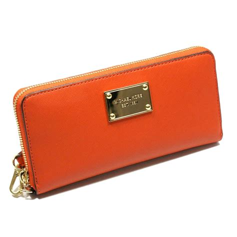 Clutch Wallet by Michael Kors Saffiano Burnt Orange Genuine Leather Iphone