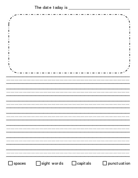 printable journal paper for second grade journal paper with checklist pdf 2nd grade writing