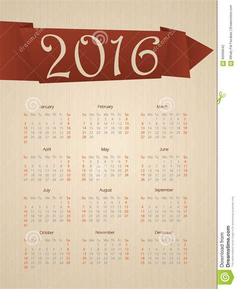 calendar ribbon design fancy calendar with ribbon for year 2016 stock vector