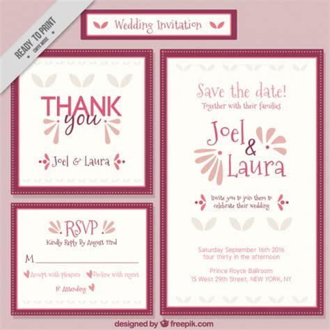 Einladung Hochzeit Set by Einladung Zur Hochzeit Set Der Kostenlosen Vektor