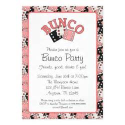 pink and black bunco 5x7 paper invitation card zazzle