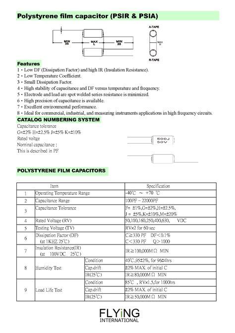 polystyrene capacitor temperature coefficient polystyrene capacitor 聚苯乙烯薄膜電容器 產品介紹 汎翊國際有限公司