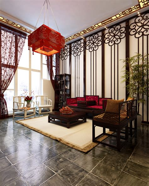 asian style living room chinese style living room 3d model max cgtrader com