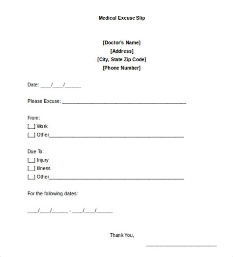 Doctors Note by Doctors Note Template 9 Free Sle Exles Format