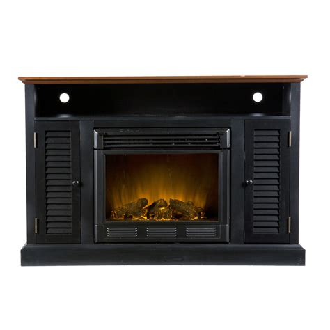 electric fireplace thermostat shop boston loft furnishings 48 in w black and walnut wood