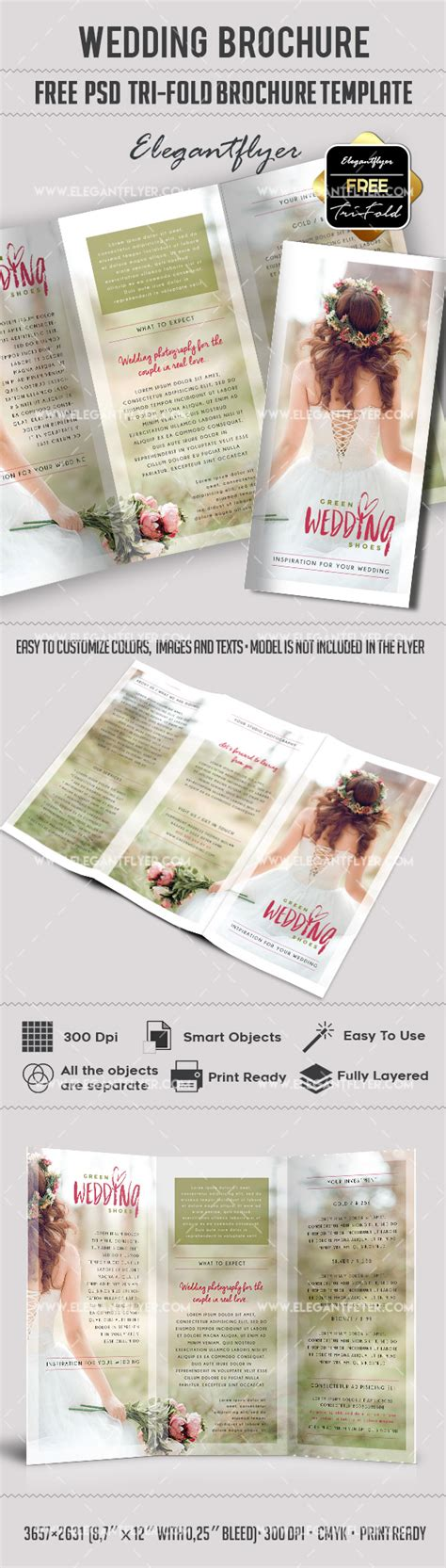 Wedding Free Tri Fold Psd Brochure Template By Elegantflyer Free Tri Fold Wedding Brochure Templates
