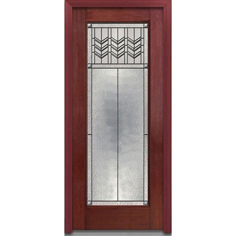 Decorative Glass Front Doors Mmi Door 36 In X 80 In Prairie Bevel Right Lite Classic Stained Fiberglass Mahogany