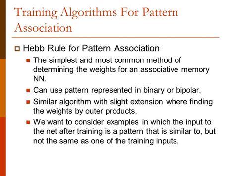 determining pattern rule pattern association a pattern association learns