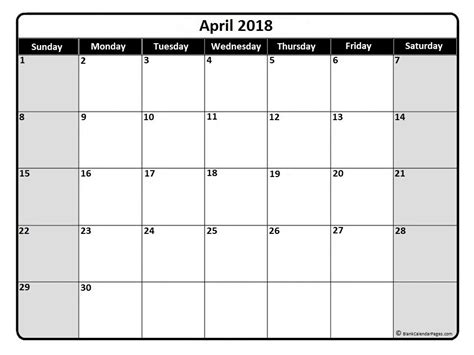 free printable monthly view calendar april 2018 monthly calendar printable printables
