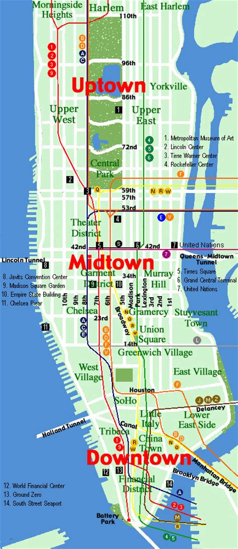 a map of manhattan new york new york maps new york tours co uk