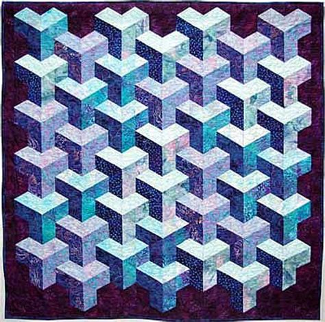 Free Tumbling Blocks Quilt Pattern by Quilt Inspiration Tumbling Blocks More Illusions