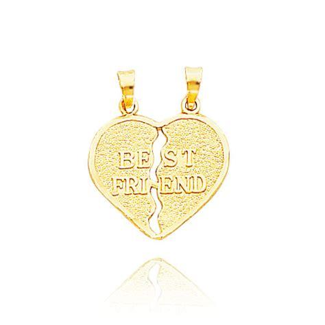 14k yellow gold satin quot best friend quot apart charm