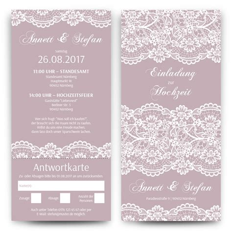 Hochzeitseinladungen Shop by Hochzeitseinladungen Mit Antwortkarte Spitze In Lila
