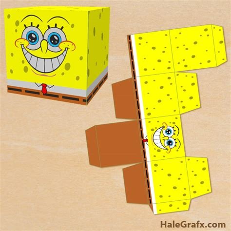 spongebob box free printable spongebob squarepants treat box
