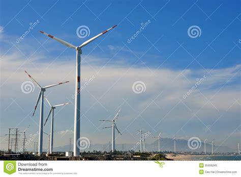 backyard windmill generator windmill generator in wide yard royalty free stock photo