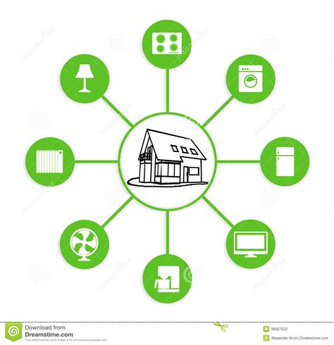 House Building Plans And Prices Smart Home Device Home Control Stock Illustration