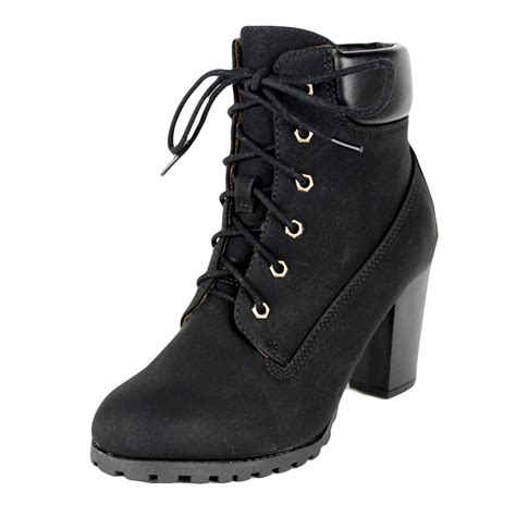 black rugged boots womens ankle boots rugged lace up high from k stores usa