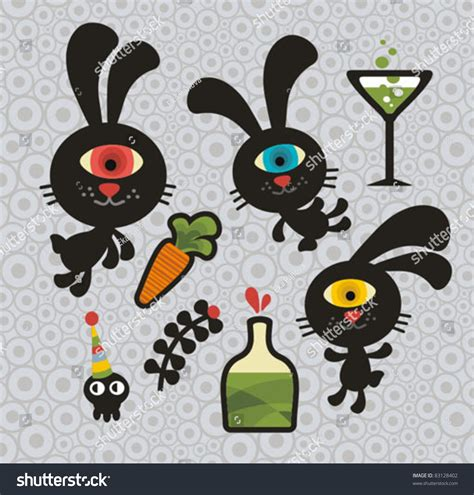 doodle creatures how to create rabbit set monsters rabbits vector stock vector
