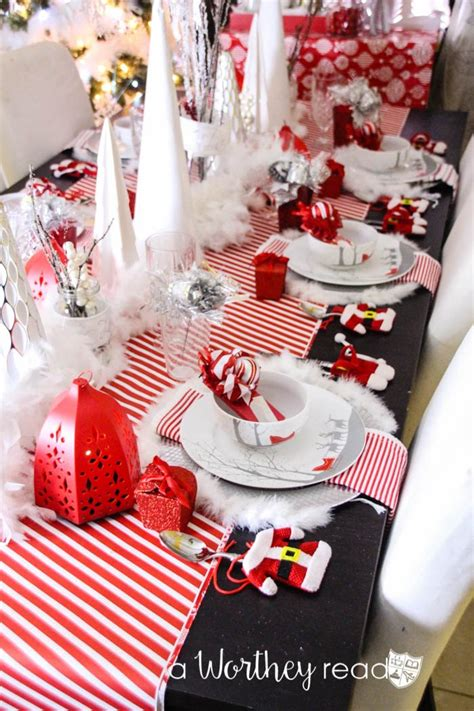 hometalk red white silver christmas tablescape