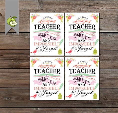 printable teacher thank you gift tags teacher appreciation gift tag a truly amazing teacher