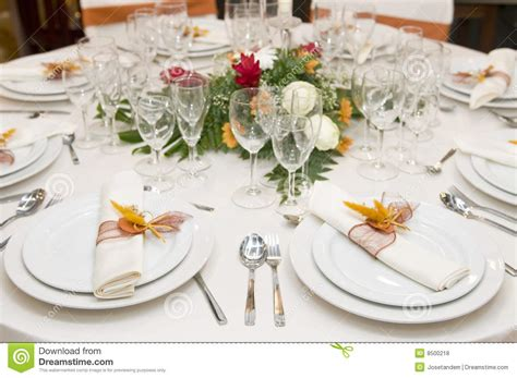 fancy place setting fancy table set for a wedding celebration royalty free
