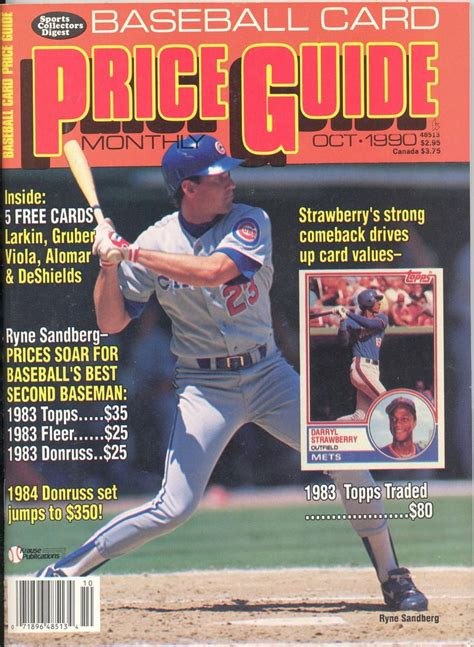 vintage october 1990 baseball card price guide ryne