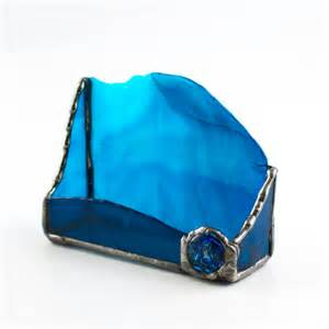 unique desktop business card holders desktop business card holder blue stained glass desk