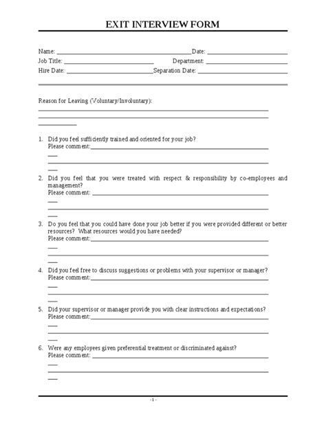 exit questions template employee exit questions template 28 images
