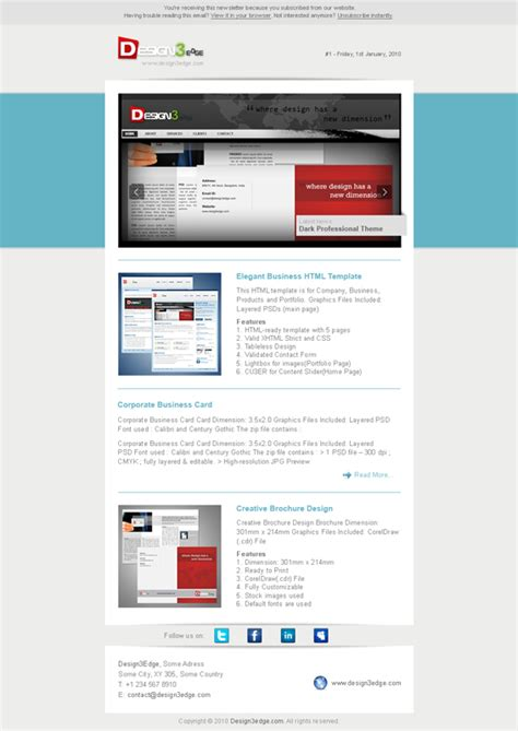 Elegant Email Template Design3edge Com Demo Email Template
