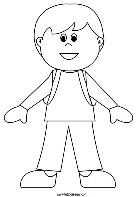 template of boy and a standing boy outline clipart collection