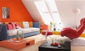 Paint or home furnishings in orange colors creating interesting and