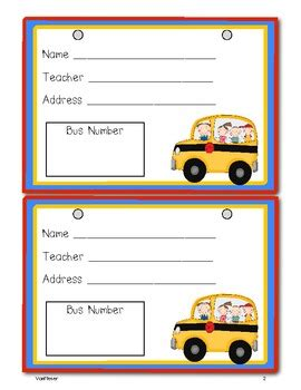Bus Tags Freebie By Mrs Vanmeter Teachers Pay Teachers Car Rider Tags Template