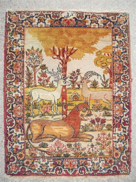 pictorial rug c1875 antique pictorial lavar kerman rug from bluesprucerugsandantiques on ruby