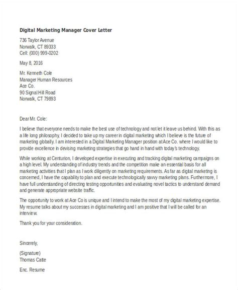 Digital Marketing Manager Cover Letter 11 Marketing Cover Letter Templates Free Sle Exle Format Free Premium