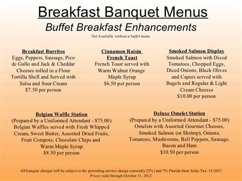 breakfast buffet menu hilton st petersburg bayfront catering presentation