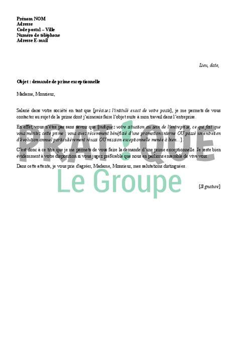 Demande De Prime Lettre Lettre De Demande De Prime Exceptionnelle 224 Employeur Pratique Fr