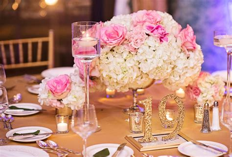 gold and pink centerpieces reception d 233 cor photos pink white and hydrangea