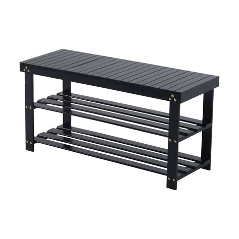 shoe rack with bench seating homcom bamboo wood shoe rack bench seat black aosom ca