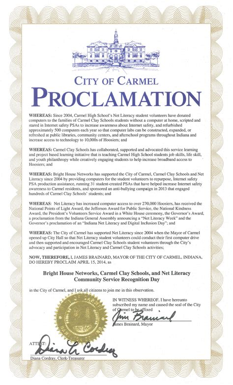 bright house carmel indiana city of carmel proclaims april 15th bright house networks carmel clay schools and