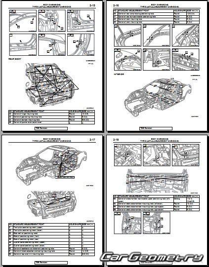 контрольные размеры кузова mitsubishi eclipse gt 2006 2012 body repair manual