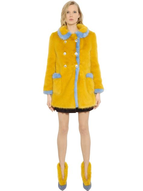 shrimps glinda embellished faux fur coat in yellow lyst